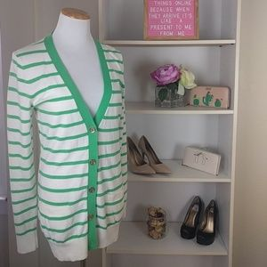 NWT C. Wonder Green White Stripped Cardigan SZ S